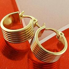 HOOP EARRINGS REAL 18K YELLOW G/F GOLD SOLID CUTE GIRLS KIDS DESIGN FS3A071