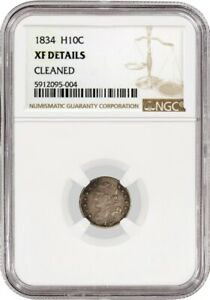 1834 H10C Capped Bust Half Dime Silver NGC XF Details Cleaned Coin