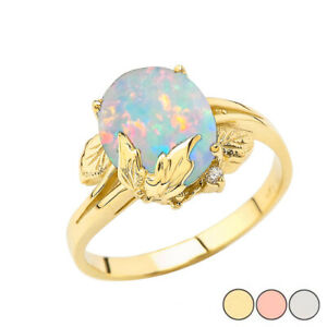 Solid Gold Simulated Opal Gemstone Oval Floral Ladies Ring Yellow/Rose/White14k