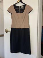 Veronika Maine 10 Beige and black peplum pencil dress