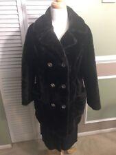 Glenoit Mills Women's Coat Vintage Faux Fur Dark Brown 1950's Winter