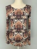 Dana Buchman Women Tunic Top Blouse Size S Scoop Neck Paisley Ruched Long Sleeve