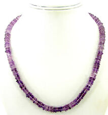 145 Ct Natural Amethyst Heishi Disc Cube Square Box Beads Necklace String - B144