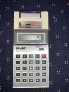 Vintage Sharp EL 8180 Electronic Print/Display Calculator with Box/Book & Paper