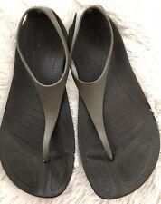 CROCS Dark Gray Rubber Flat Sandals-Size 7