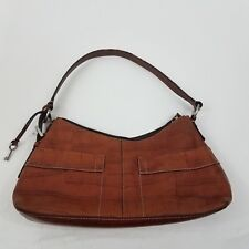 Fossil Purse Leather Handbag Hobo Animal Print Textured Zip Tan Bag Pockets