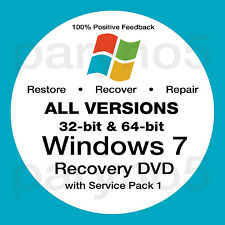 WINDOWS 7 All Versions Home Premium Pro Recovery Boot Restore DVD Disc Disk