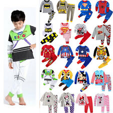 Toddler Kid Boy Girl Cartoon Sleepwear Long Sleeve Nightwear Pj's Pyjamas Outfit