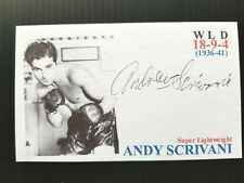 """ANDY SCRIVANI """"SUPER LIGHTWEIGHT"""" BOXING AUTOGRAPHED 3X5 INCH INDEX CARD"""