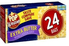💗 24 Bags Pop Weaver Extra Butter Microwave Popcorn 24ct Healthy Snack