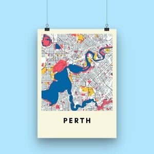 Perth City Map Print - Multicolored Illustrated Map Poster A3 size