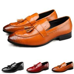 Mens Tassel Pointed toe Slip on Loafers Formal Dress Party Oxfords Shoes US6-13