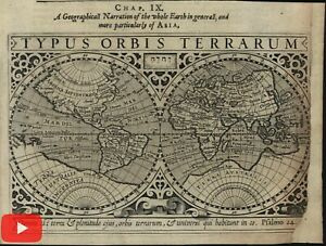 World 1607 double hemispheres 1626 Purchas Hondius scarce miniature map