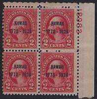 US Stamps - Scott # 647 - Plate # Block - 2 MNH & 2 MH                   (D-036)