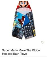 Super Mario Move the Globe Hooded Bath Towel 24in x 50in NEW