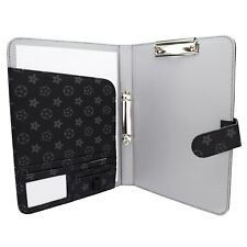 A4 ORGANISER Portfolio Leather pu Notepad Ring Binder Folder ID Black 5504