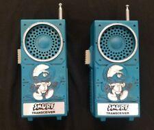 Vintage 1982 Smurf Walkie Talkies Transceiver Radios Works!!