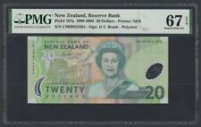 New Zealand Polymer 20 Dollars 1999-2003 UNC (Pick 187a) PMG-67 EPQ