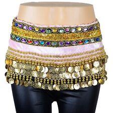 Belly Dance Hip Scarf Skirt Wrap Gold Coins Band Gemstone Jeweled Stone Velvet