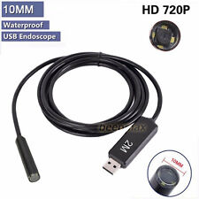 10mm 4 LED USB Endoscope Borescope Waterproof Inspection Tube Video Camera 2M