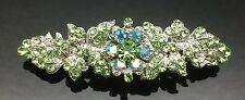 LIGHT GREEN Wedding Silver Crystal Hair Comb Clip Barrette Bridal Formal 7cm