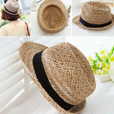 NEW WOMEN ELEGANT GIRLS BRIM SUMMER HOLLOW BEACH SUN STRAW FLOPPY HAT CAP BEAUTY