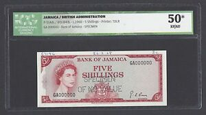 Jamaica 5 Shillings  ND 1960 P51ads Specimen Perforated About Uncirculated