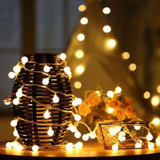 100 LED Main Powered Festoon Fairy String Ball Lights Garden Tree Deck Christmas