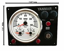 Yanmar Marine Engine Panel , Black, ABYC + Fully Wired, Diesel, Black Gauge Kit