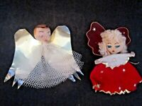 Vintage spun cotton pipe cleaner angel Christmas ornaments. Red & Gold. Lot of 2