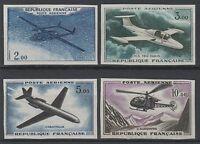 """FRANCE YVERT AIR POST 38/41 SCOTT C37-40 """" PLANE HELICOPTER IMPERF"""" MNH VVF N782"""