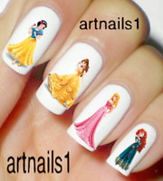 Disney Princess Nail Art Water Decals Stickers Manicure Salon Mani Polish Gift