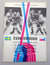 1974 CZECHOSLOVAKIA vs. SWEDEN Ice Hockey PROGRAM Programme