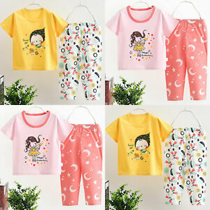 Kids Girls Baby Outfit Short Sleeve Tops + Pants Set Clothes Sleepwear Nightwear