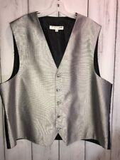 Horizonline Vest Mens XL Formal Grey Silver On Black Squares 5 Button