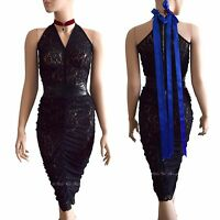 DOLCE & GABBANA D&G black floral lace midi blue bows 2007 DRESS size 10 6 42