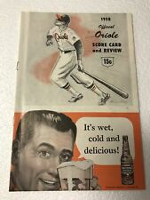 1958 ORIOLES VS BOSTON SCORE CARD AND REVIEW ( NICE )