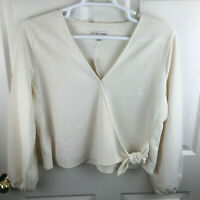 New NWT Texture & Thread Madewell Crepe Wrap Top Shirt Ivory Long Sleeve Size XL