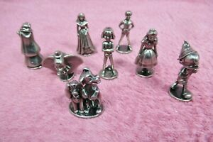 2001 Monopoly DISNEY EDITION Set of 8 Pewter TOKENS Movers Replacement Parts