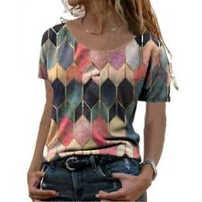 Summer Womens Crew Neck Short Sleeve T Shirt Casual Print Blouse Loose Beach Top