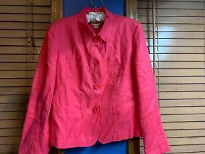 Talbots Irish Linen Jacket Blazer Size 12 Pink Button Down Front Pockets