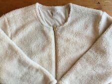 J. Crew Ivory Fleece Full-Zip Collarless Jacket Womens Size Small B14