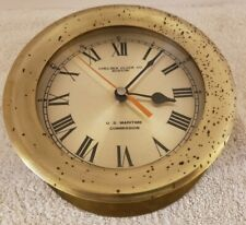 Vintage Chelsea Clock Co. U.S. Navy US Maritime Commission Brass Ship Deck Clock