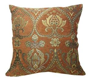 Wd35Aa Reddish Brown Damask Chenille Flower Throw Cushion Cover/Pillow Case*Size