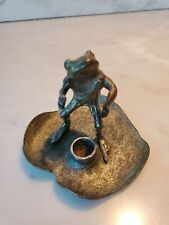 1973 Metzke vintage Pewter Frog sitting on lily pad candle holder small cute