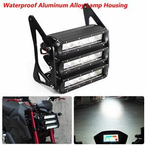 12V LED ATV Motorcycle Modified Head Fog Light CNC Bracket Retro Three-tier LED