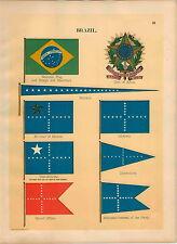 1899 Brazil Coat Of Arms Shield Minister Marine Pennant Maritime Ship Flag PRINT