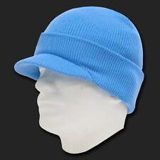Light Sky Blue Ski Visor Beanie Hat Cap Knit Skull Winter Jeep Snowboard Beanies