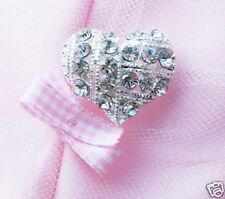 "10 Heart 1"" Rhinestone Crystal Silver Button Buckle"