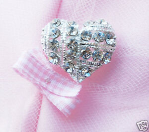 "10 Heart 1"" Rhinestone Crystal Silver Button Buckle"
